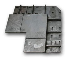 Sand castings, material 1.4823, weight 166 kg, 48kg, 38 kg, application heat treatment.
